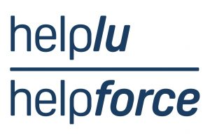 White logo with the words Helplu Helpforce in navy writing
