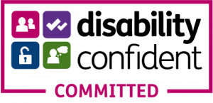 Logo with the words disability confident and the word committed below