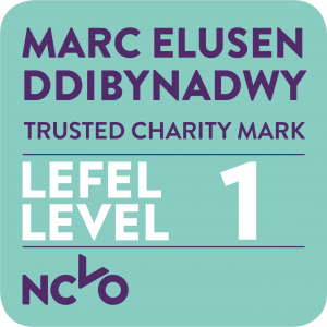 Logo with the words Marc Elusen Ddibynadwy, Lefel 1, and Trusted Charity Mark Level 1. There is an NCVO logo in the bottom corner