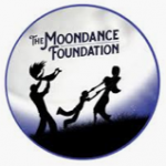 Circular logo depicted the silhouette of a family playing, the word The Moondance Foundation are above