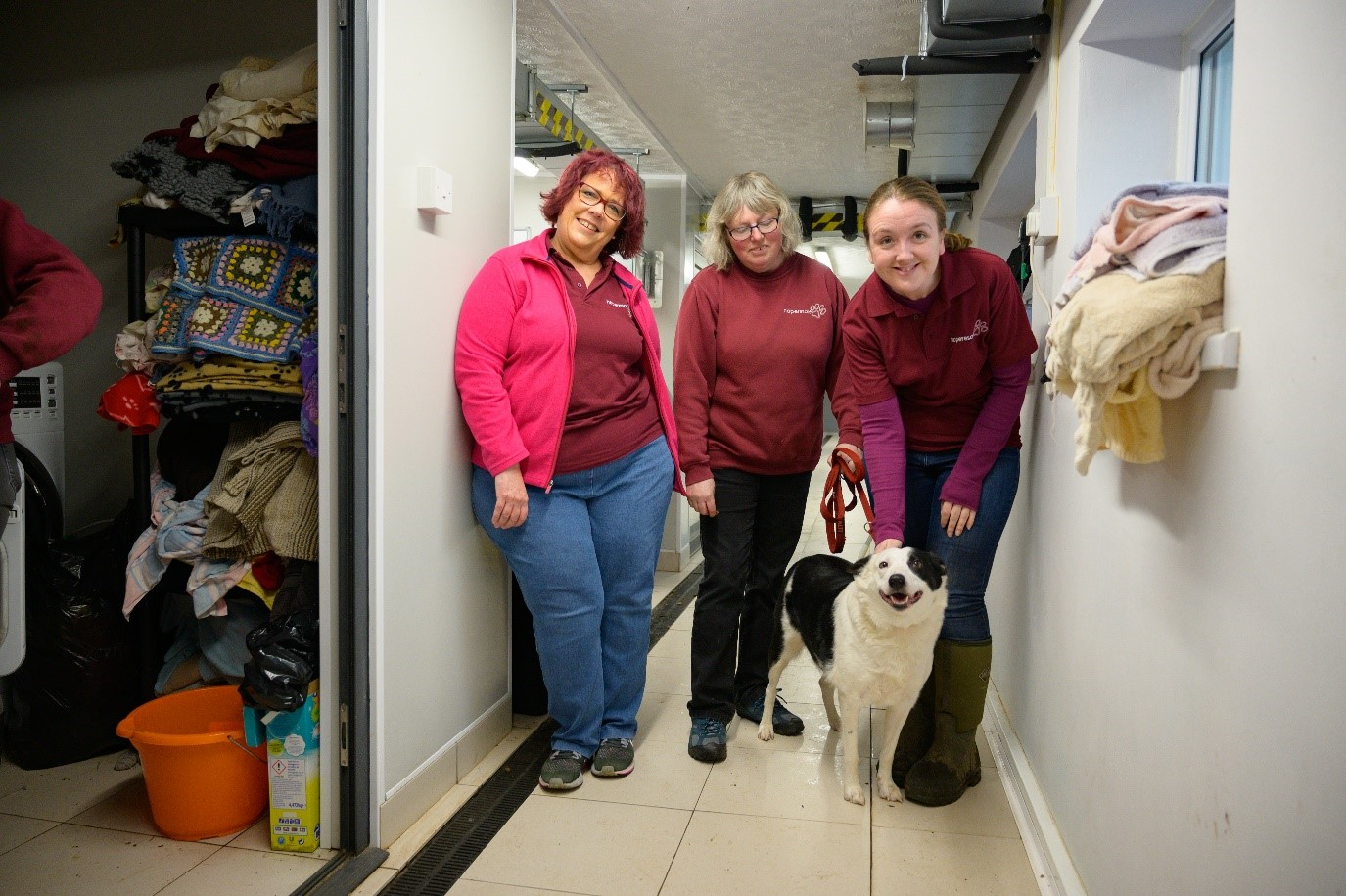 Three smiling women stand in a corridor with a happy dog