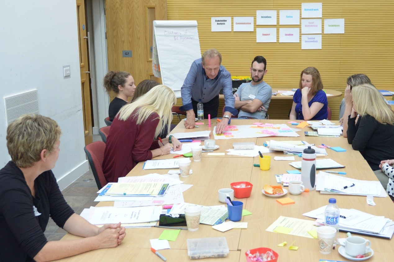 Person teaching group at table with flipchart and post its