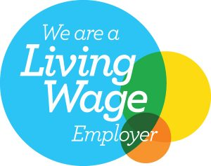 Logo stating 'We are a Living Wage Employer
