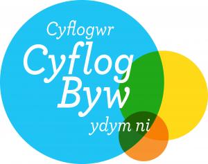 Logo with the words Cyflogwr Cyflog Byq ydym ni