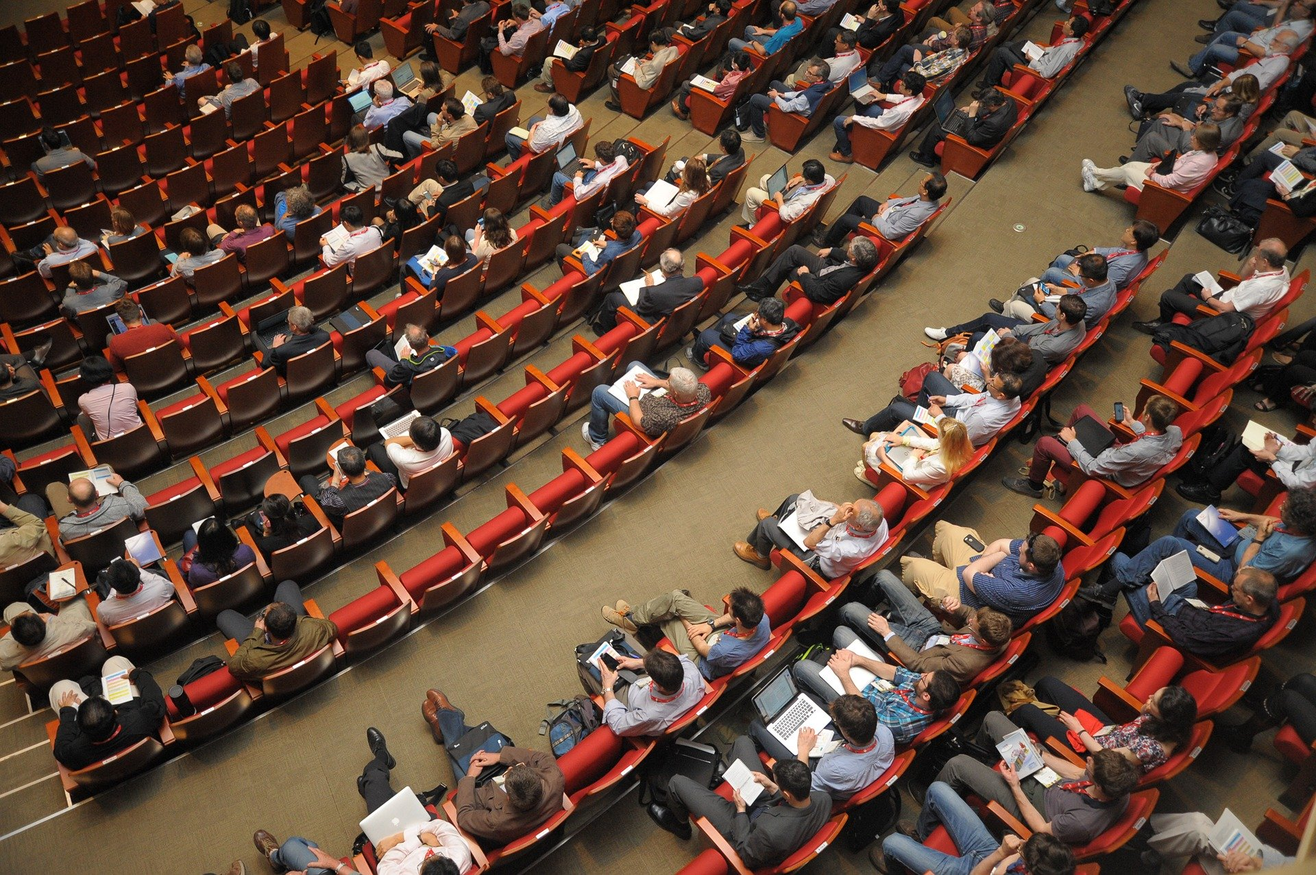 Lecture theatre half full from above