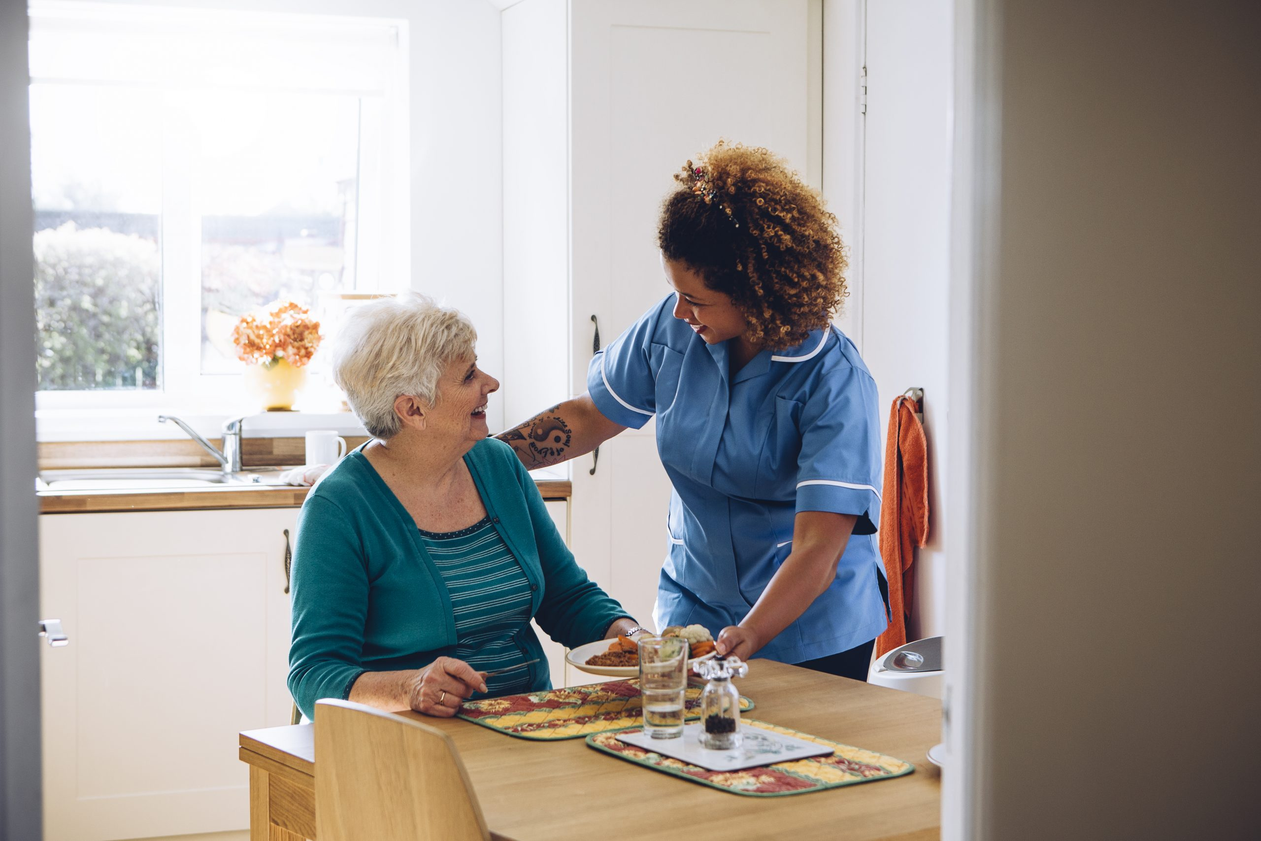female carer cares for older woman in house