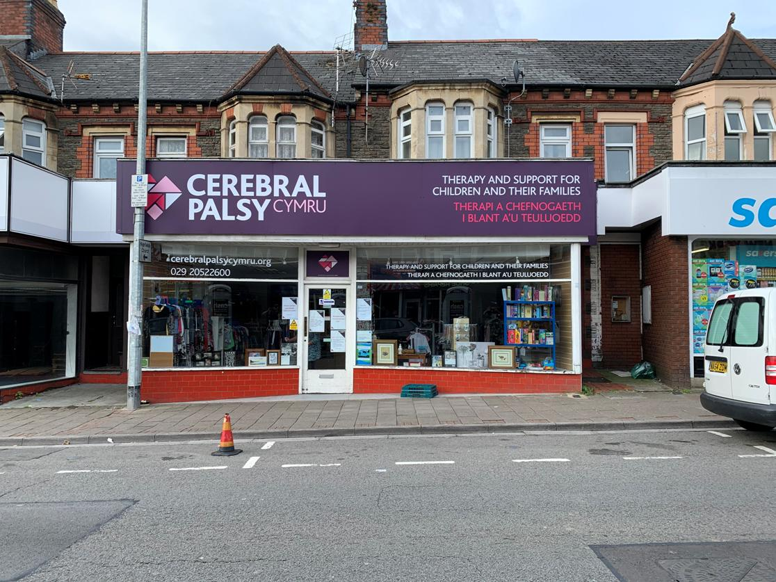 Cerebral Palsu Cymru charity shop front on the high street in Cardiff