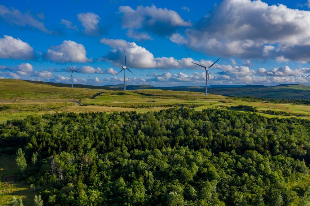 Wind turbines on sunny Welsh hillside