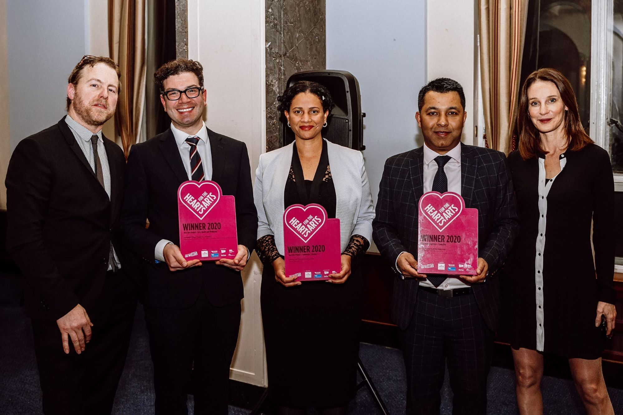 Samuel West and Susie Dent with Hearts for the Arts award winners 2020 - Matt Steinberg, Artistic Director of Outside Eddge Theatre Company; Hackney Council's Petra Roberts; Manchester City Council's Luthfur Rahman