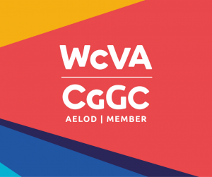 Logo with the words WCVA and CGGC and underneath the words Aelod and Member