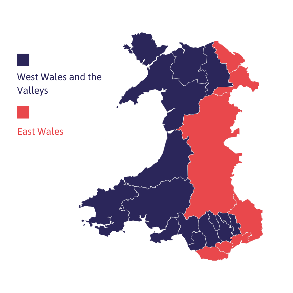 Map showing how the Active Inclusion fund divides Wales into two, with the areas of East Wales (Flintshire, Wrexham, Powys, Monmouthshire, Newport, Cardiff and the Vale of Glamorgan) and West Wales and the Valleys (the remaining counties)