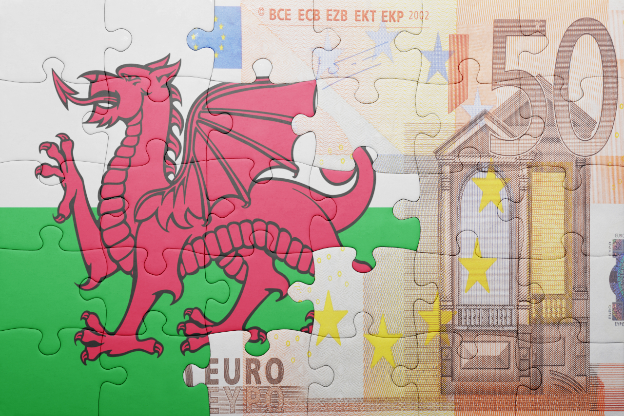 The Welsh flag merges into a fifty Euro note using puzzle pieces