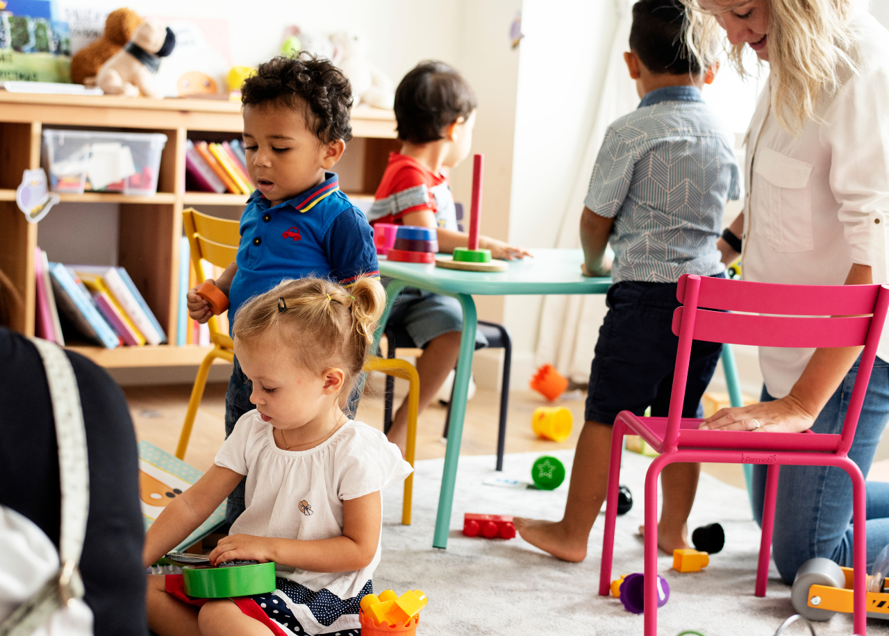 Group of diverse children in playgroup